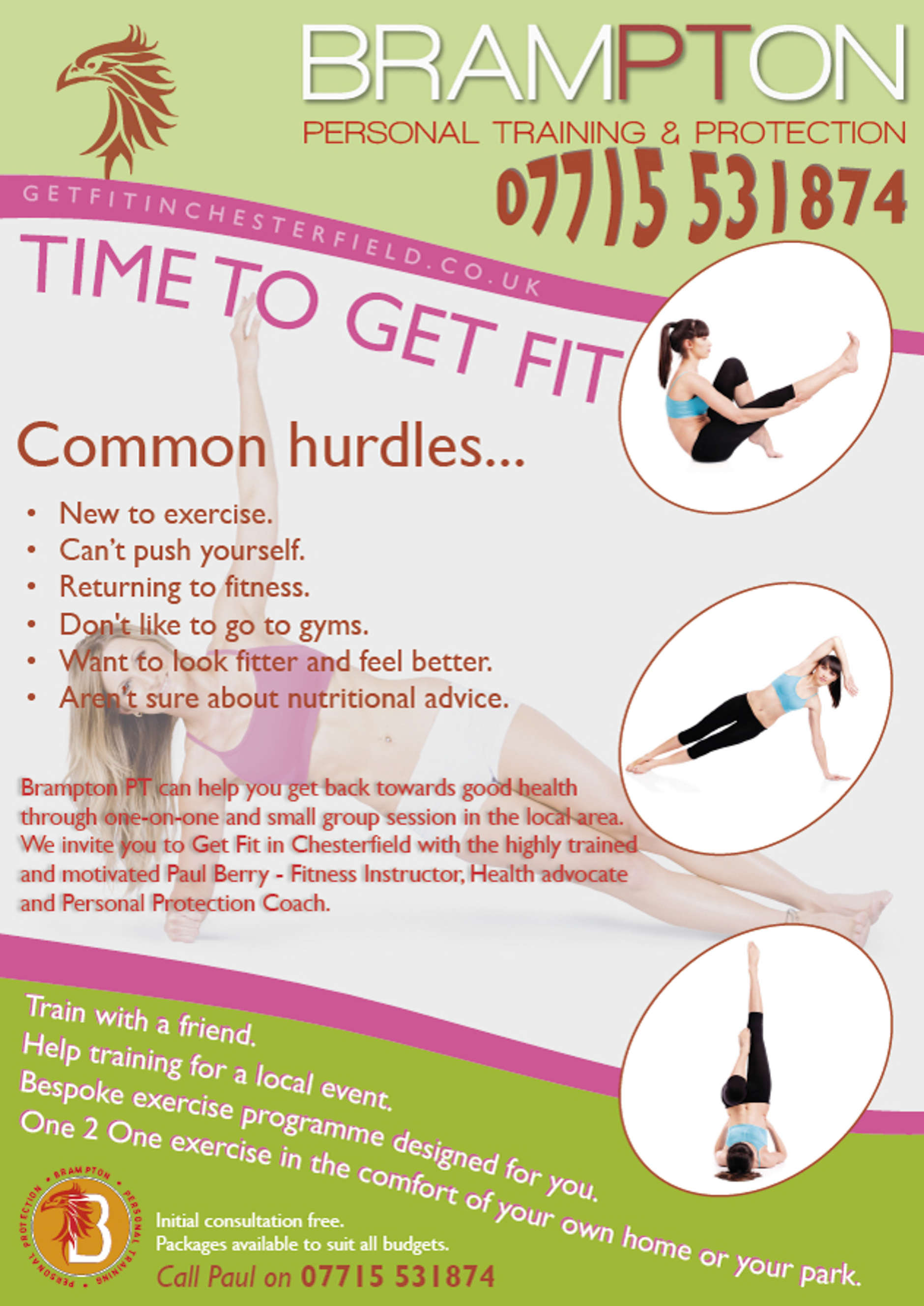 Annual Leaflet for Fitness Trainer based in Chesterfield