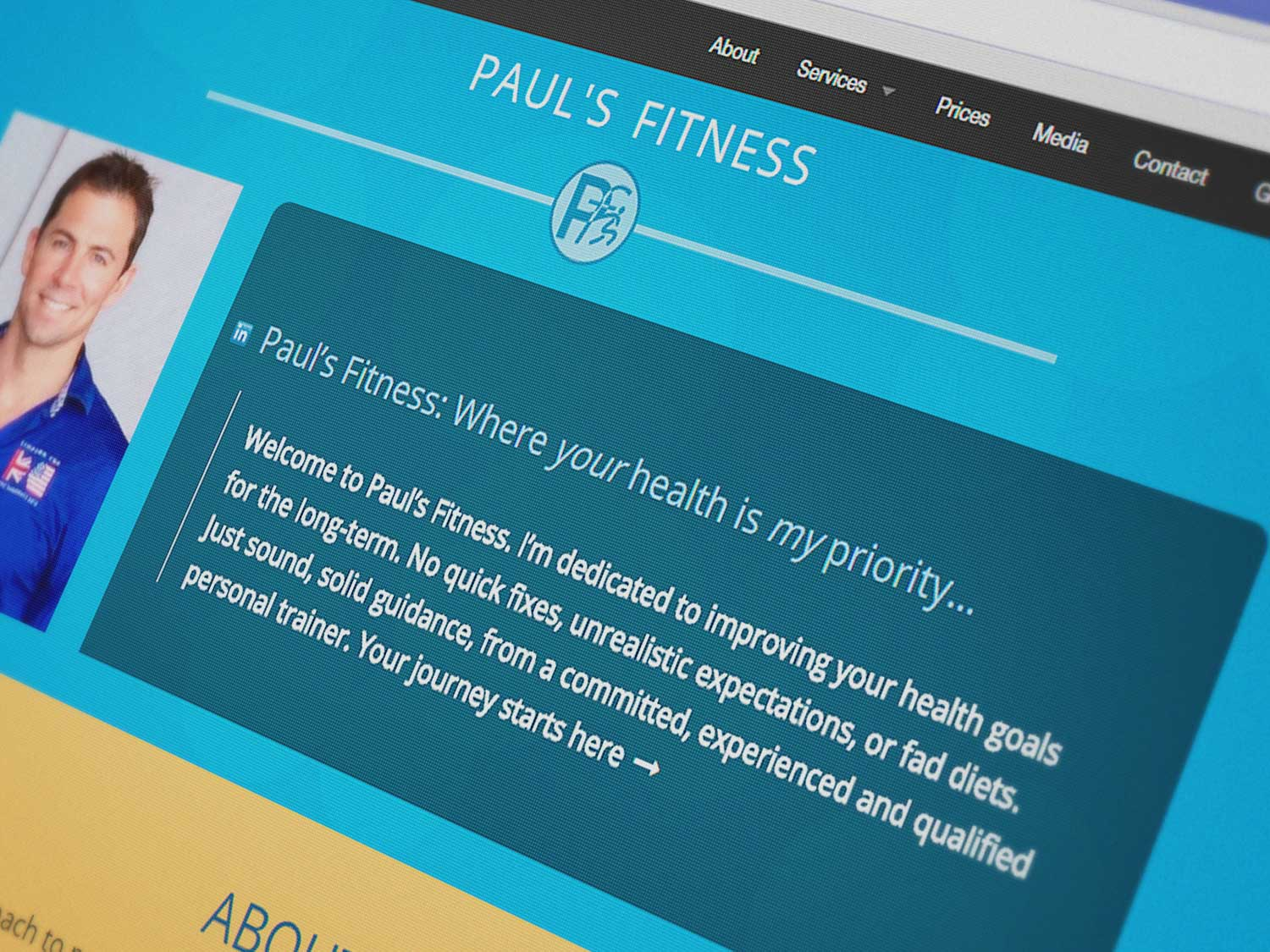 Paul's Fitness personal trainer website featuring Skype Fitness