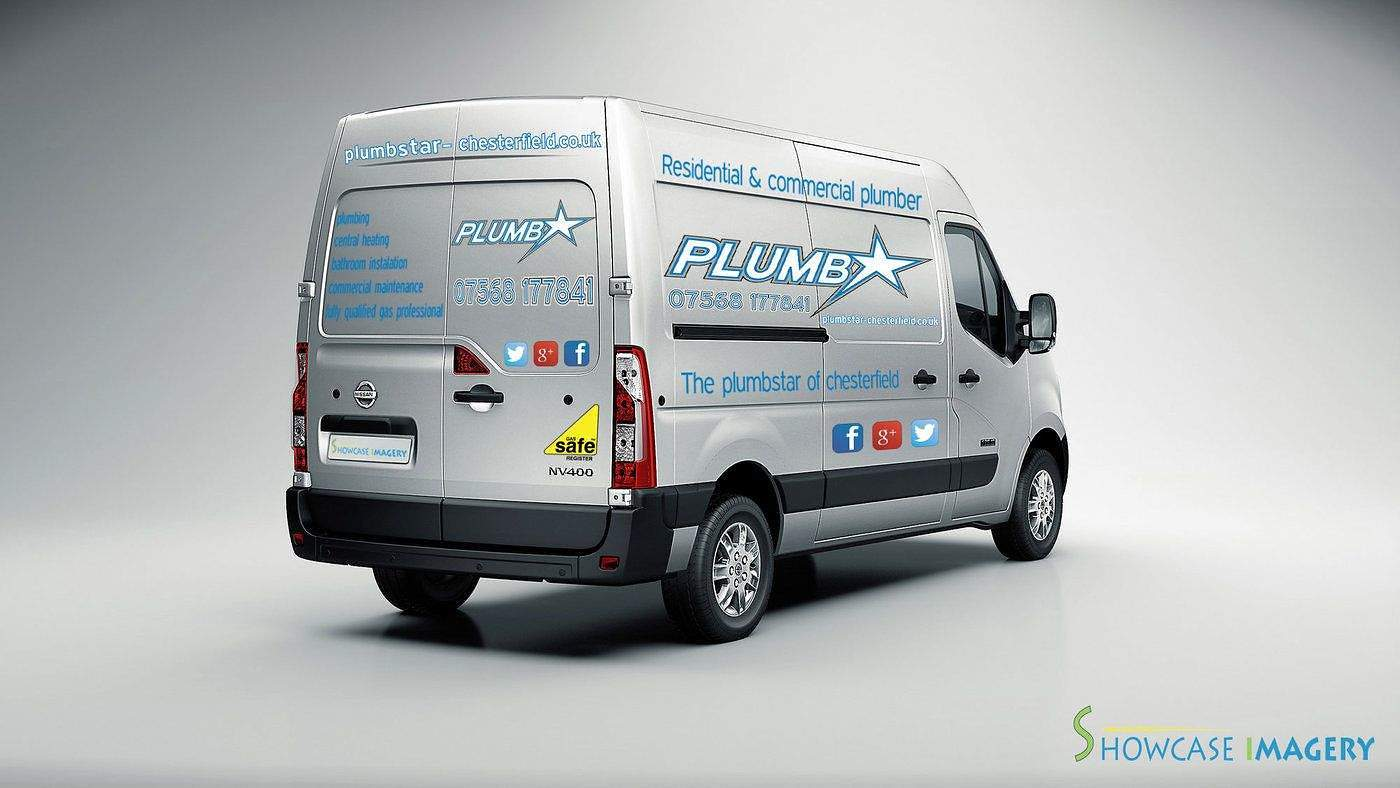 sign writting plumbstar vehicle
